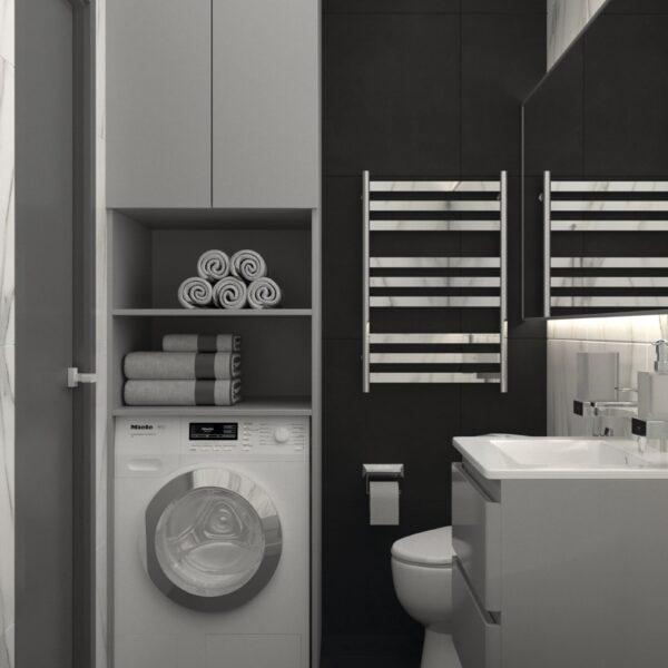 Дизайн-проект трикімнатної квартири за адресою: вул. Клочківська, 201-а, санвузол вид зліва