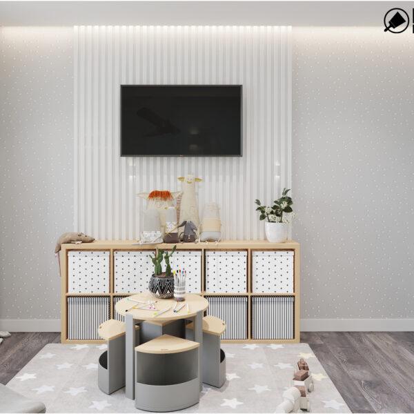 Дизайн интерьера двухкомнатной квартиры в ЖК «Архитекторов», детская с видом на правую стену