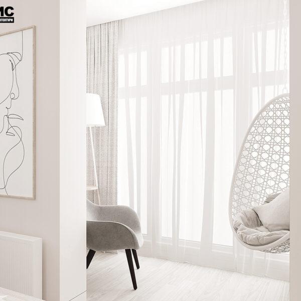 """Дизайн-проект однокімнатної квартири ЖК """"Райдужний"""", лоджія вид спереду"""