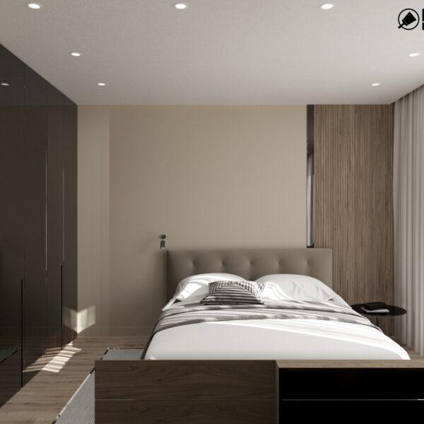 """Дизайн-проект двухэтажной квартиры ЖК """"Клеменова Дача"""", спальня №3 вид спереди"""