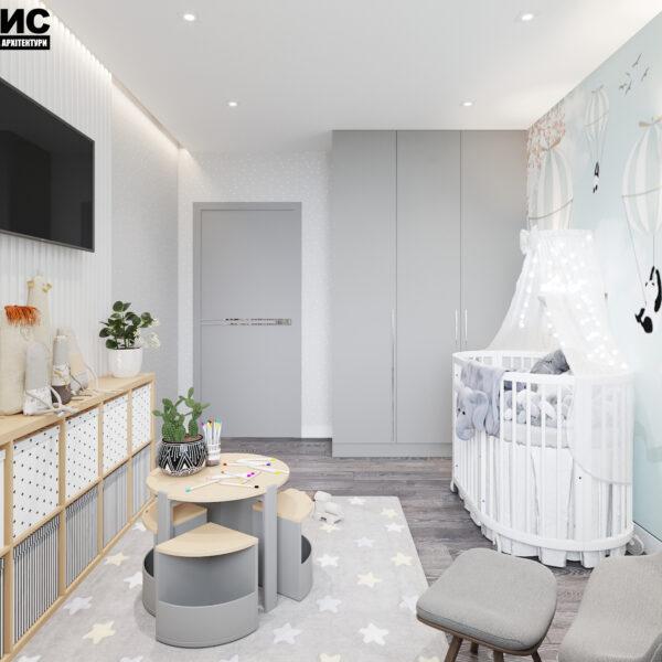 Дизайн интерьера двухкомнатной квартиры в ЖК «Архитекторов», детская вид на входную дверь