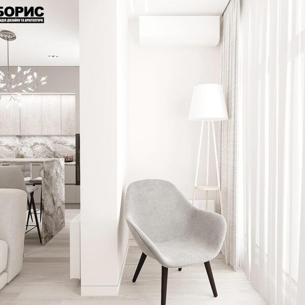 """Дизайн-проект однокімнатної квартири ЖК """"Райдужний"""", лоджія вид зліва"""