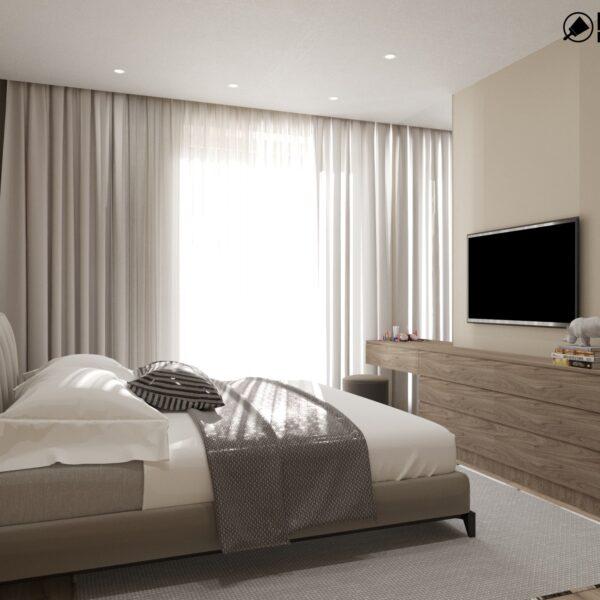 """Дизайн-проект двухэтажной квартиры ЖК """"Клеменова Дача"""", спальня №3 вид справа"""