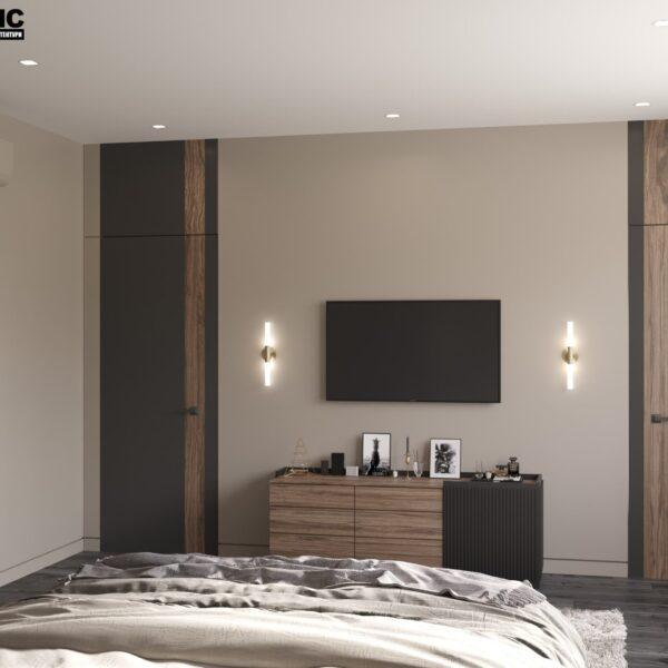 """Дизайн-проект двухэтажной квартиры ЖК """"Клеменова Дача"""", спальня №3 вид сбоку"""