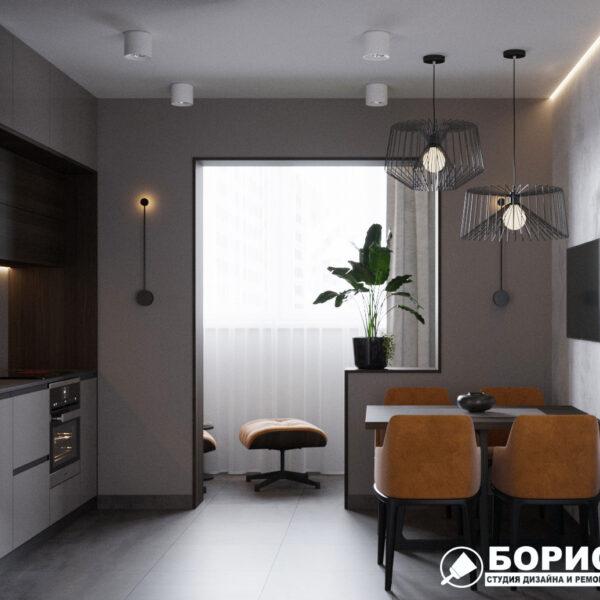 """Дизайн-проект однокомнатной квартиры ЖК """"Архитекторов"""", кухня вид справа"""