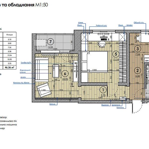 """Дизайн-проект інтер'єра квартири у ЖК """"Металіст"""", план розміщення меблів"""