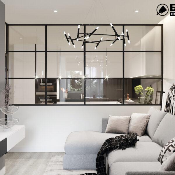"""Дизайн-проект двокімнатної квартири ЖК """"Дует"""", вітальня вид зліва"""