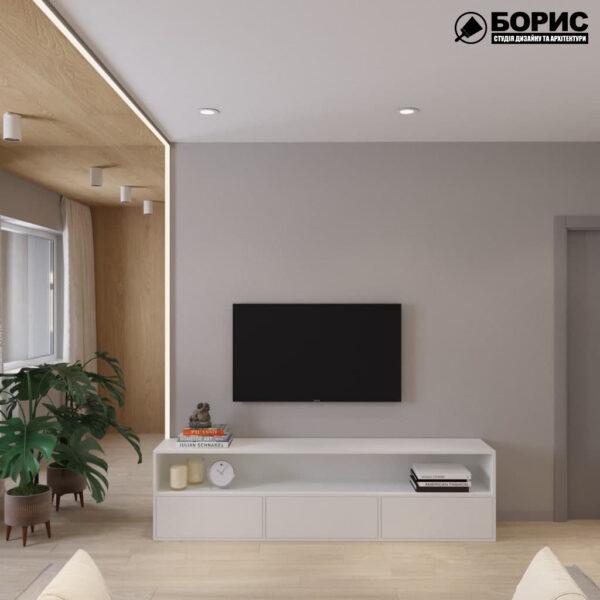 Дизайн-проект трехкомнатной квартиры по адресу: ул. Клочковская, 201-а, гостиная вид сзади