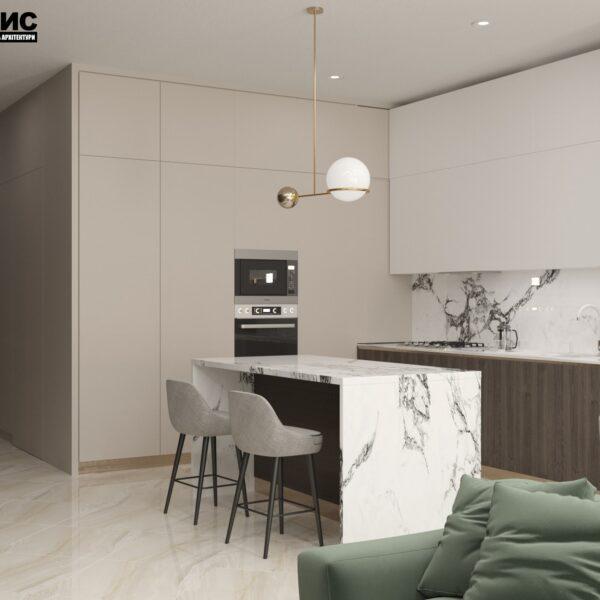 """Дизайн-проект двухэтажной квартиры ЖК """"Клеменова Дача"""", кухня"""