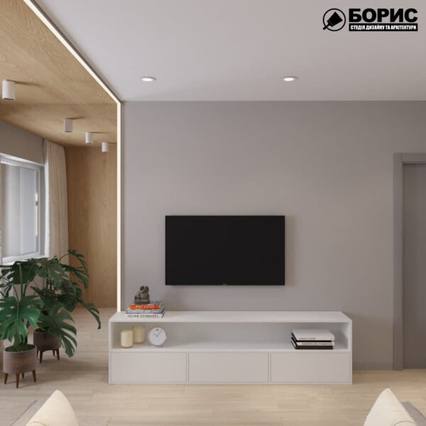 Дизайн-проект трикімнатної квартири за адресою: вул. Клочківська, 201-а, вітальня вид ззаду