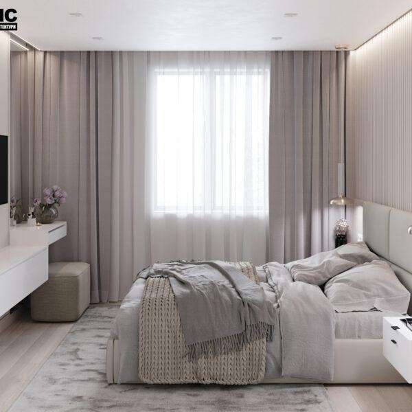 """Дизайн-проект однокімнатної квартири ЖК """"Райдужний"""", спальня вид зліва"""
