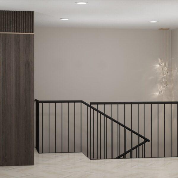 """Дизайн-проект двухэтажной квартиры ЖК """"Клеменова Дача"""", холл вид на лестницу"""