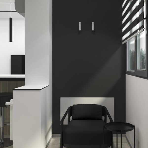 """Дизайн-проект однокімнатної квартири ЖК """"Пташка"""", лоджія вид зліва"""