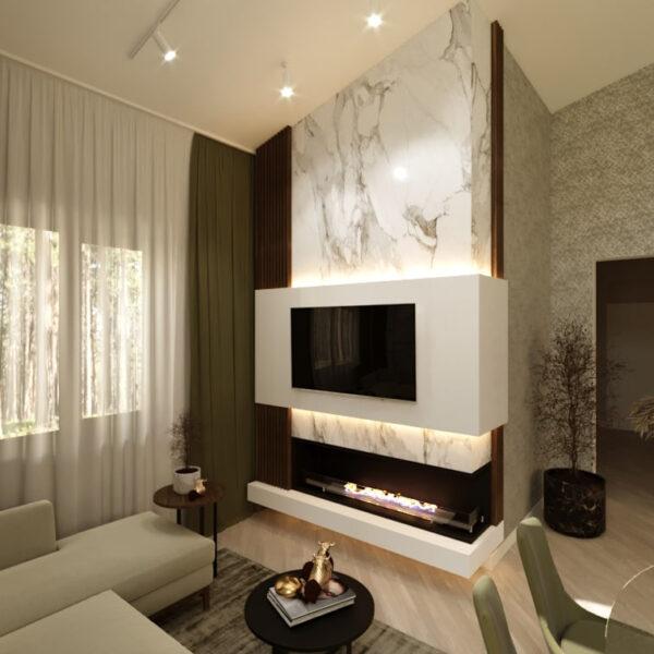 Дизайн-проект приватного будинку, вітальня вид ззаду