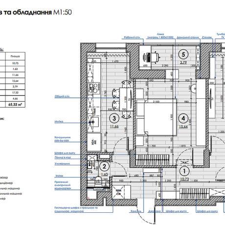 """Дизайн інтер'єру квартири ЖК """"Пролісок"""", план розміщення меблів"""