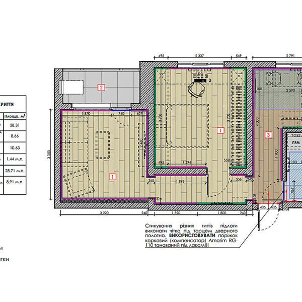 """Дизайн-проект інтер'єра квартири у ЖК """"Металіст"""", план підлоги"""
