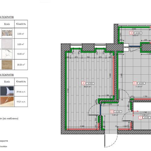 """Дизайн-проекту інтер'єру однокімнатної квартири ЖК """"Левада 2"""", план підлоги"""