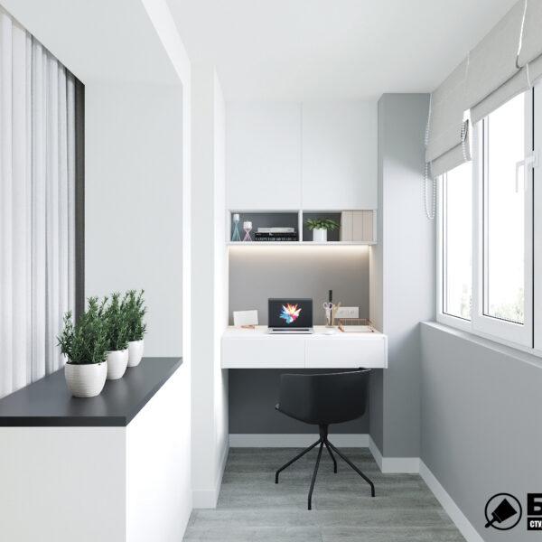 """Дизайн-проект двокімнатної квартири ЖК """"Дует"""", лоджія"""