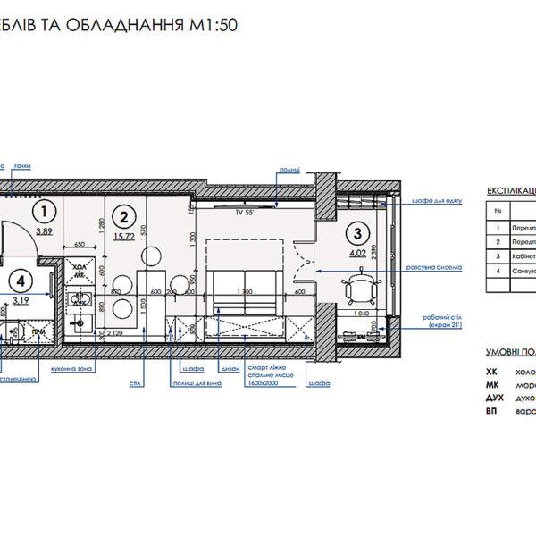 Дизайн интерьера квартиры-студии, план размещения мебели и техники