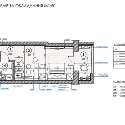 Дизайн інтер'єру квартири-студії, план розміщення меблів та обладнання