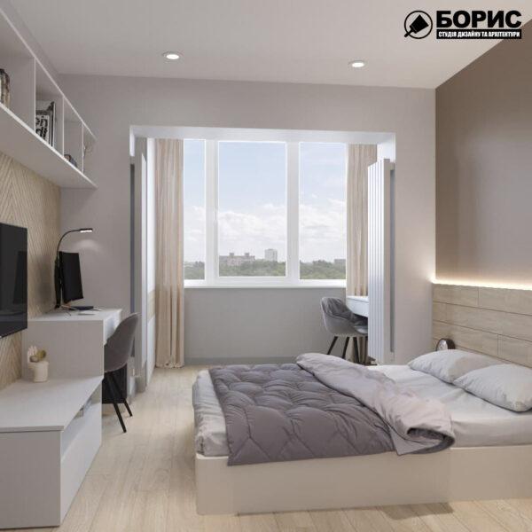 Дизайн-проект трехкомнатной квартиры по адресу: ул. Клочковская, 201-а, спальня вид слева
