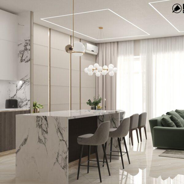 """Дизайн-проект двухэтажной квартиры ЖК """"Клеменова Дача"""", кухня вид сбоку"""