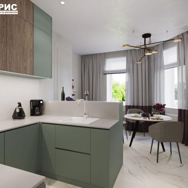 "Дизайн-проект трикімнатної квартири ЖК ""Сокольники"", кухня вид справа"