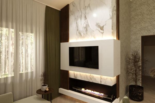 Дизайн-проект частного дома, гостиная вид сзади