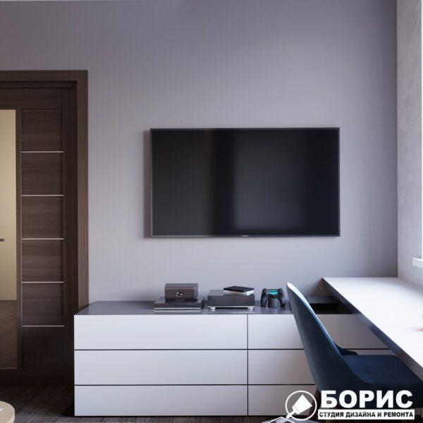 """Дизайн-проект однокімнатної квартири ЖК """"Архітекторів"""", спальня вид ззаду"""