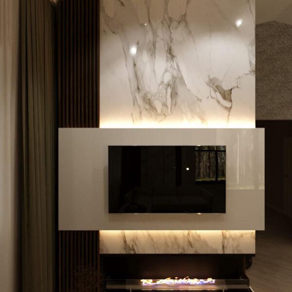 Дизайн-проект приватного будинку, вітальня телевізор