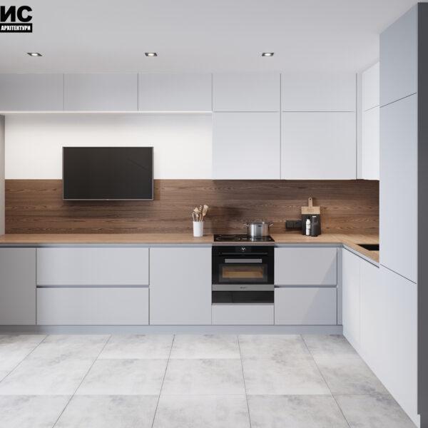 Дизайн интерьера двухкомнатной квартиры в ЖК «Архитекторов», кухня вид на рабочую область.