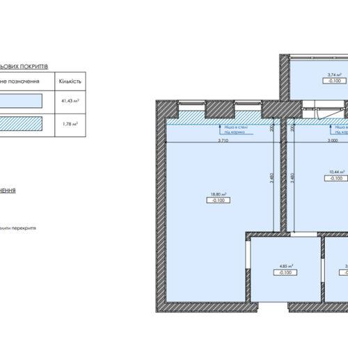 """Дизайн-проекту інтер'єру однокімнатної квартири ЖК """"Левада 2"""", план стелі"""