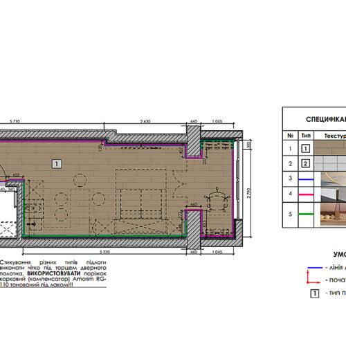 Дизайн інтер'єру квартири-студії, план підлоги