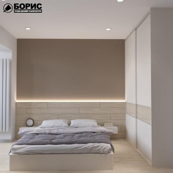 Дизайн-проект трехкомнатной квартиры по адресу: ул. Клочковская, 201-а, спальня вид спереди