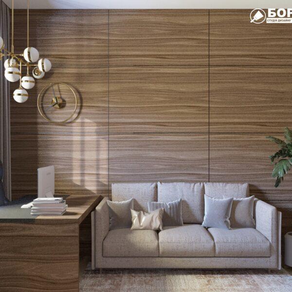 """Дизайн-проект двухэтажной квартиры ЖК """"Клеменова Дача"""", кабинет диван"""