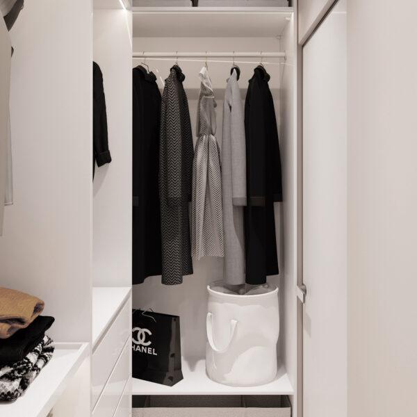 """Дизайн-проект однокімнатної квартири ЖК """"Райдужний"""", гардеробна вид справа"""