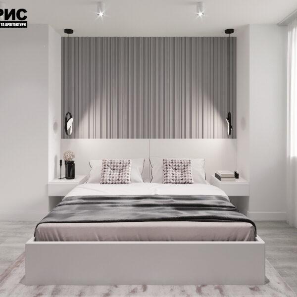 """Дизайн-проект двухкомнатной квартиры ЖК """"Дуэт"""", спальня вид спереди"""