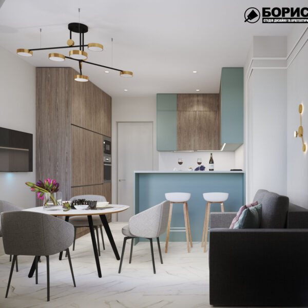 "Дизайн-проект трикімнатної квартири ЖК ""Сокольники"", кухня вид спереду"