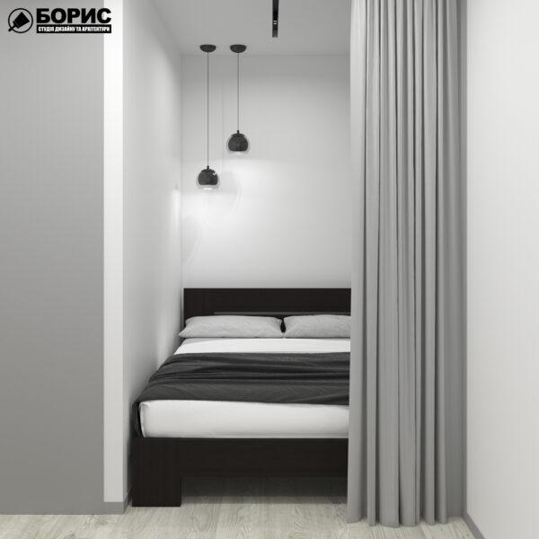 """Дизайн-проект однокімнатної квартири ЖК """"Пташка"""", спальня"""