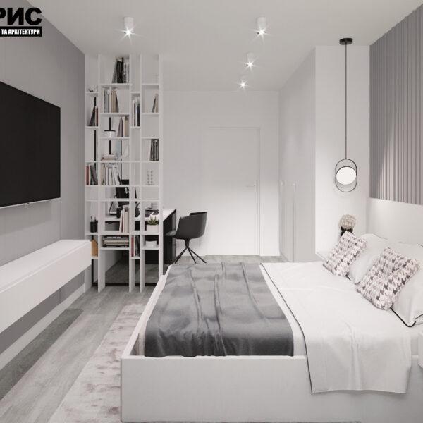 """Дизайн-проект двокімнатної квартири ЖК """"Дует"""", спальня вид зліва"""