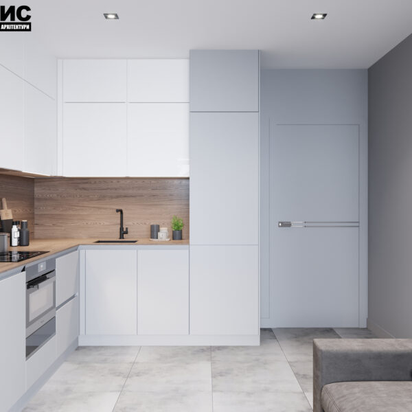 Дизайн интерьера двухкомнатной квартиры в ЖК «Архитекторов», кухня с видом на входную дверь