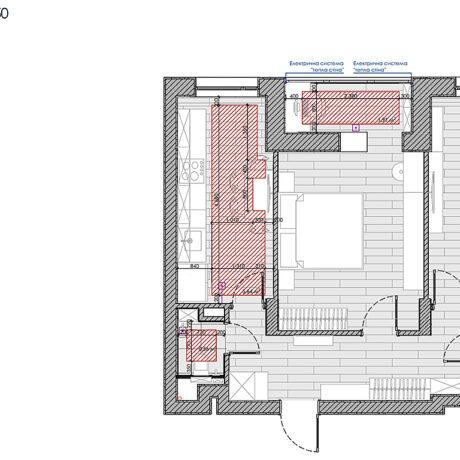 """Дизайн інтер'єру квартири ЖК """"Пролісок"""", план теплої підлоги"""