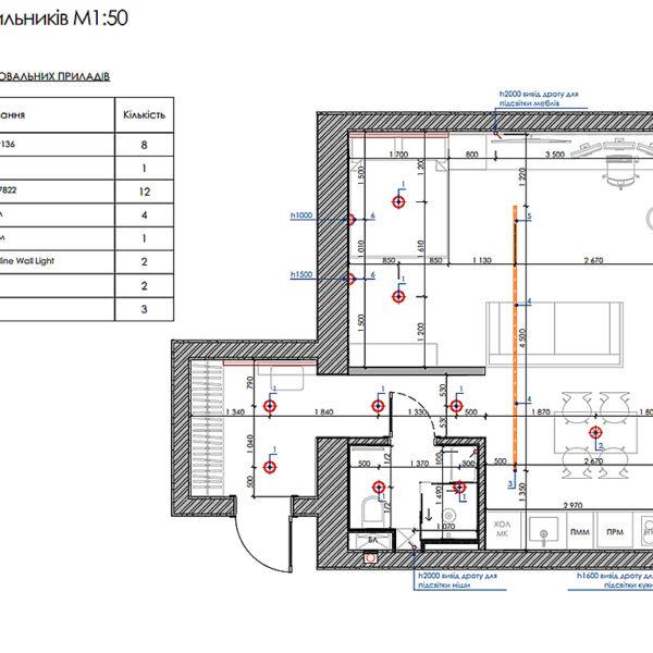 """Дизайн-проект інтер'єра квартири ЖК """"Московський"""", план розміщення світильників"""