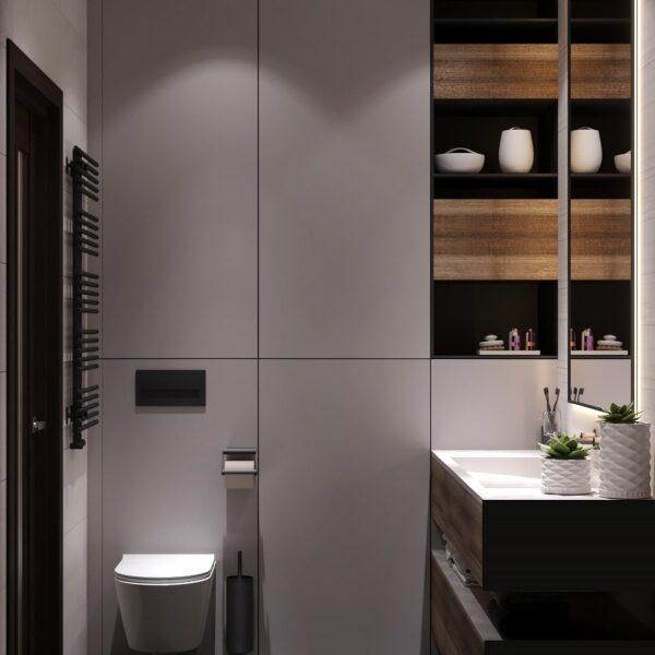 """Дизайн-проект однокімнатної квартири ЖК """"Архітекторів"""", санвузол вид зліва"""