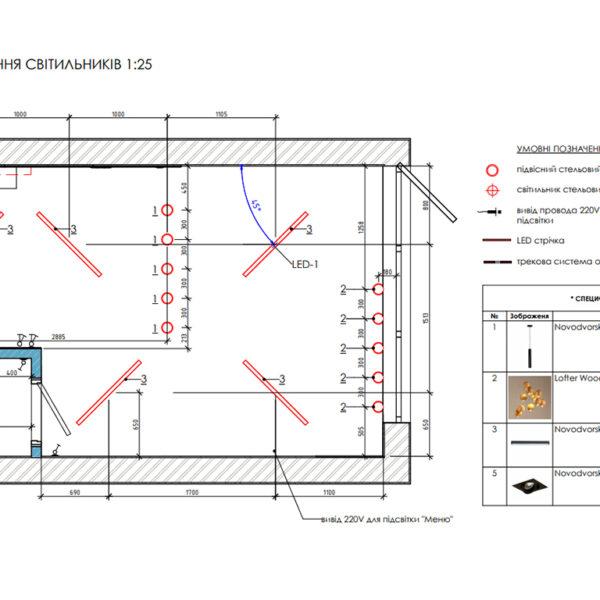 Дизайн-проект фастфуду, план розміщення світильників