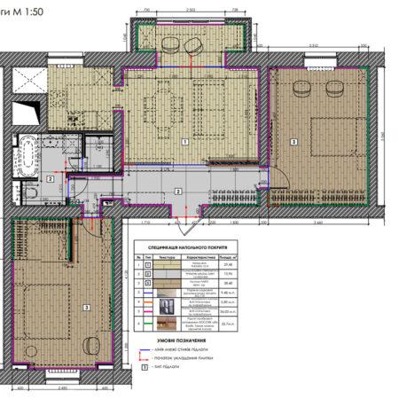 Дизайн-проект квартиры по ул. Семинарской, план пола