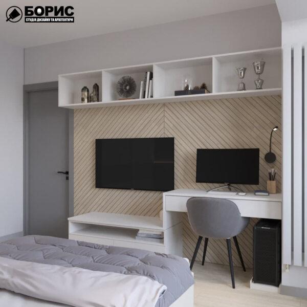Дизайн-проект трехкомнатной квартиры по адресу: ул. Клочковская, 201-а, спальня вид сзади