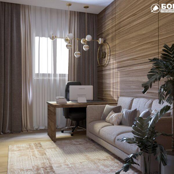"""Дизайн-проект двухэтажной квартиры ЖК """"Клеменова Дача"""", кабинет вид сбоку"""