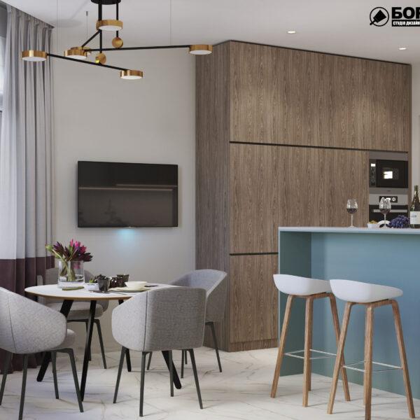 """Дизайн-проект трикімнатної квартири ЖК """"Сокольники"""", кухня вид зліва"""