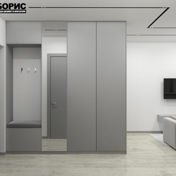 """Дизайн-проект однокімнатної квартири ЖК """"Пташка"""", передпокій"""